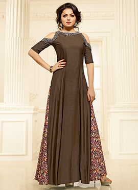 Drashti Dhami Brown Art Silk Gown