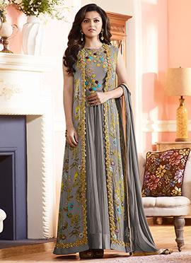 Dhrasti Dhami Grey Anarkali Suit