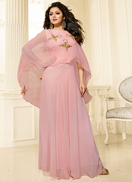 Drashti Dhami Light Pink Georgette Gown