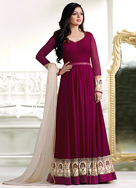 Dhrasti Dhami Magenta Abaya Style Anarkali Suit