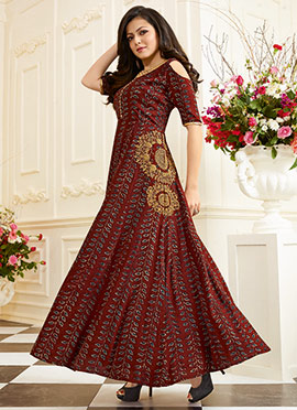 Drashti Dhami Maroon Cotton Gown