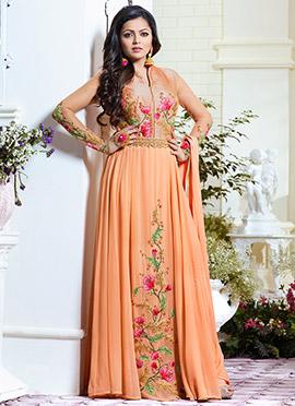 Dhrasti Dhami Orange Abaya Style Anarkali Suit