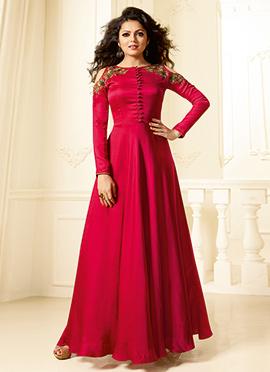 Drashti Dhami Pink Satin Gown