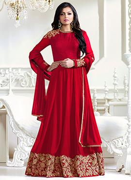 Dhrasti Dhami Red Abaya Style Anarkali Suit