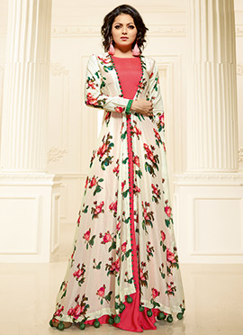 Drashti Dhami White N Peach Art Silk Gown