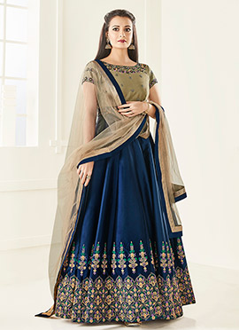 Dia Mirza Beige N Blue Art Silk Anarkali Suit