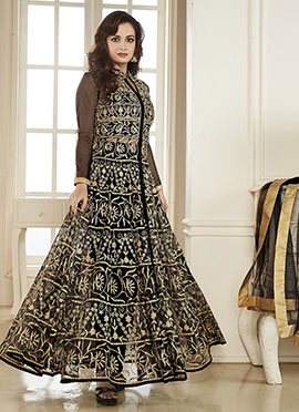 Dia Mirza Black Anarkali Suit