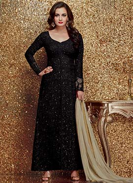 Dia Mirza Black Straight Suit