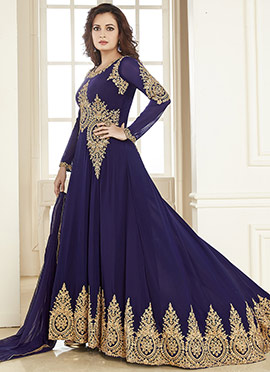 Dia Mirza Blue Anarkali Suit
