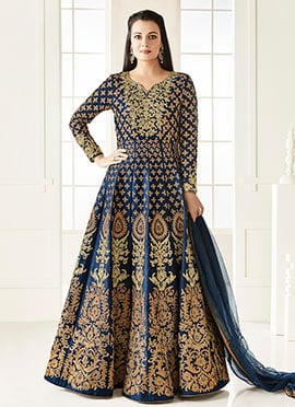 Dia Mirza Blue Art Silk Anarkali Suit
