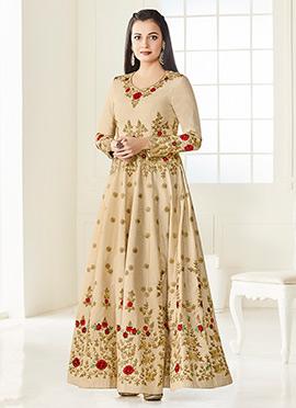 Dia Mirza Cream Art Silk Anarkali Suit