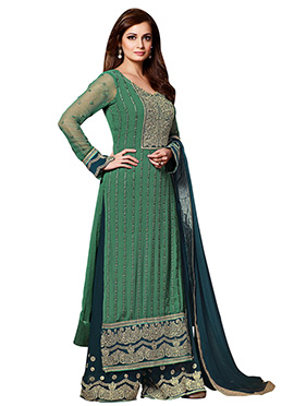 Dia Mirza Green Embroidered Palazzo Suit
