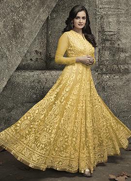 Dia Mirza Light Yellow Net Anarkali Suit