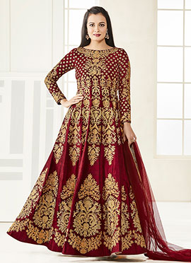 Dia Mirza Maroon Art Silk Anarkali Suit