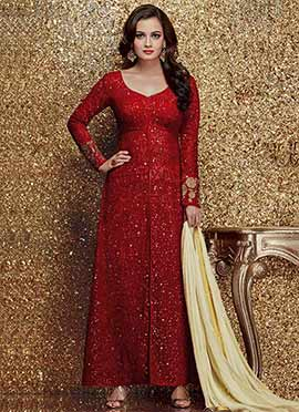 Dia Mirza Maroon Straight Suit