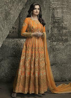 Dia Mirza Orange Art Silk Anarkali Suit