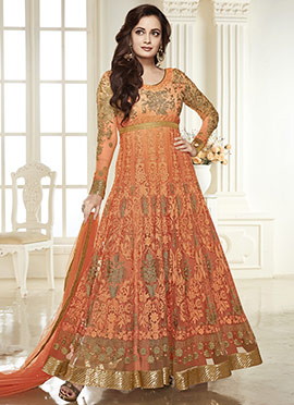 Dia Mirza Peach Anarkali Suit