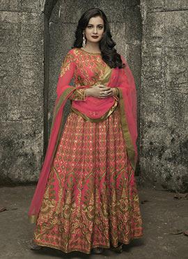 Dia Mirza Pink Art Silk Anarkali Suit
