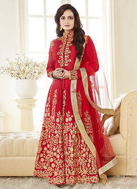 Dia Mirza Red Anarkali Suit