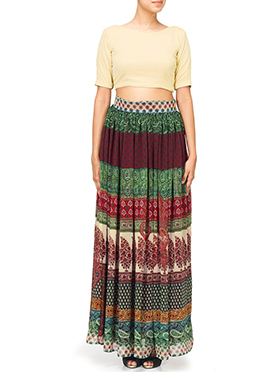 Dilwale Inspired Beige N Multicolored Skirt Set