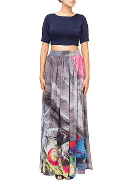 Dilwale Inspired Blue N Multicolored Skirt Set