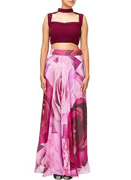 Dilwale Inspired Pink N Maroon Skirt Set