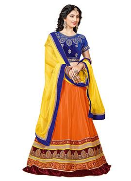 Disha Parmar Orange Net A Line Lehenga Choli