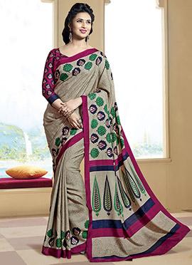 Divyanka Tripathi Beige Bhagalpuri Art Silk Saree