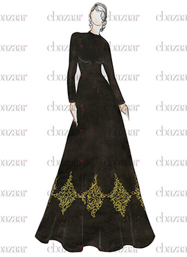 DIY Black Art Dupion Silk Anarkali Gown