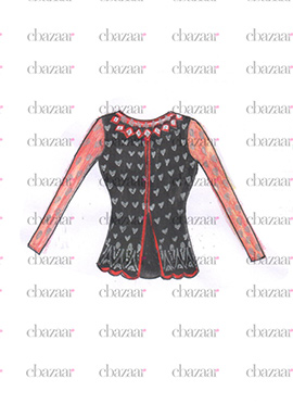 DIY Black N Peach Art Silk Jacket Style Blouse