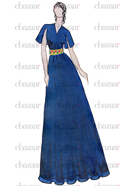 DIY Blue Silk Satin Anarkali Gown