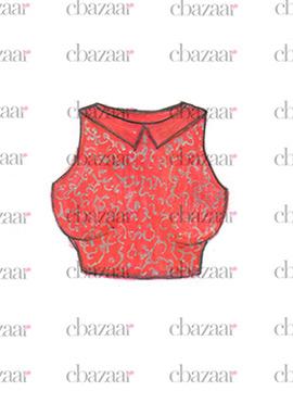 DIY Coral Peach Art Silk Embroidered Blouse