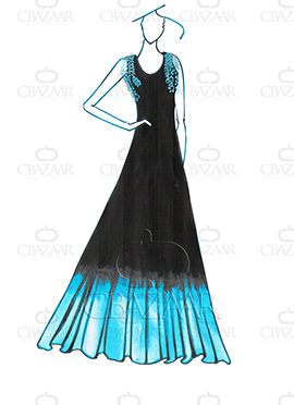 DIY Dilwale Ombre Black N Blue Georgette Gown