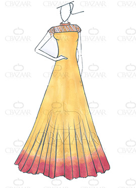 DIY Dilwale Ombre Yellow N Maroon Georgette Gown