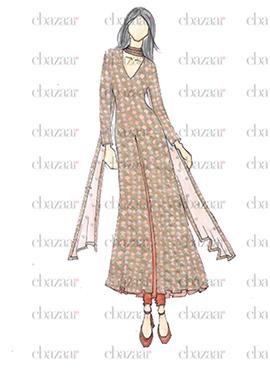 DIY Golden Lace Anarkali Suit
