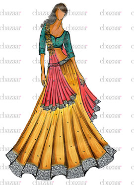 DIY Golden Yellow Art Silk Lehenga Choli