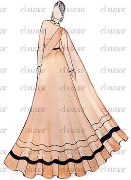 DIY Light Peach Crepe Anarkali Gown