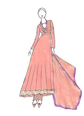 DIY Madhuri Dixit Peach Anarkali Suit
