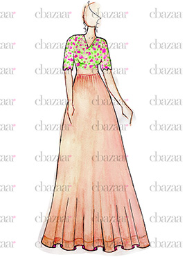 DIY Peach N Multicolored Anarkali Gown