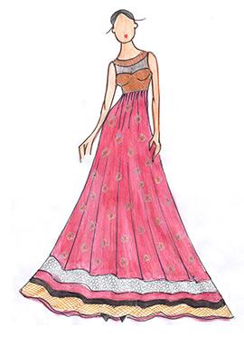 DIY Pink Georgette Floor Length Anarkali Suit