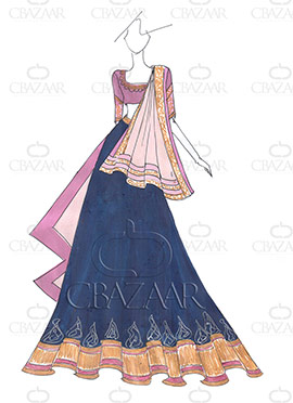 DIY PRDP Inspired Dark Blue Lehenga Choli