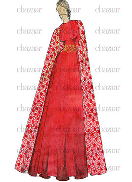 DIY Red Art Dupion Silk Gown
