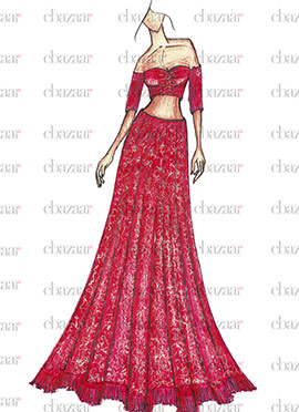 DIY Red Art Silk Lehenga Choli