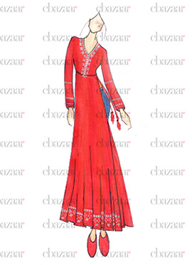 DIY Red Georgette Anarkali Suit