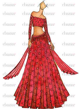 DIY Red Lace Lehenga Choli