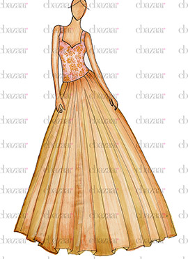 DIY Rose Pink N Beige Anarkali Gown