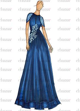 DIY Royal Blue Crepe N Chiffon Anarkali Gown