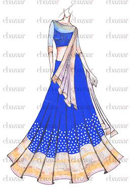 DIY Royal Blue Georgette Lehenga Choli