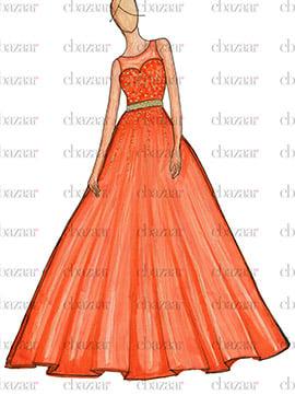 DIY Vibrant Orange Net Anarkali Gown