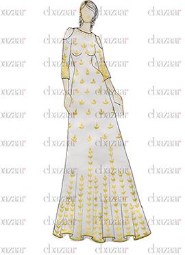DIY White Art Silk Gown